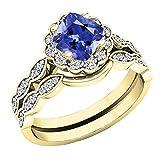 dazzlingrock, 5,5mm, 14Karat Gelbgold, Tansanit und Diamant-Halo-Verlobungsring-Set,