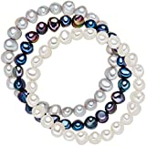 Valero Pearls Damen-Armband 3er Set hochwertige Süßwasser-Zuchtperle hellgrau weiß blau 19 cm - Perlenarmbänder mit echten Perlen weiss dunkelblau grau 60201782