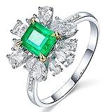 KnSam Damen Ring, Partnerringe Gold 18K Weiß Gold Trauringe Gelbgold Mit 0.9ct Smaragd Diamond Sliber