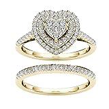 Dantazz Ringe Damen Gold/Silber Ehering Verlobungsring Kristall Ringe Zirkonia Ring Diamant Ringe Böhmischer Finger Knöchelring Ewigkeit Ringe Antragsring Trauringe (E, 6)