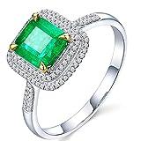 KnSam Damen Ring, Ehe Ring Damen 18K Weiß Gold Verlobungsring 750 Gelbgold Mit 1.2ct Smaragd Diamond Sliber