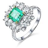 KnSam Damen Ring, Ehering Gold Rose 18K Weiß Gold Verlobungsring Frau Mit 1.2ct Smaragd Diamond Sliber