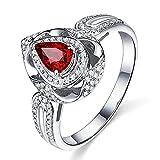 KnSam Damen Ring, Verlobungsringe In Rosegold 18K Weiß Gold Verlobungsringe Frauen Mit 0.58ct Rubin Diamond Weiß Gold