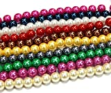 Perlin - 10 Stränge Glaswachsperlen 4mm Glasperlen Wachsperlen 10 Farben Konvolut Kugel Bastelset Perlenset Perlenmischung Schmuckperlen zum Fädeln Glass Pearl Beads D57A
