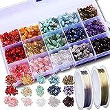 SOSMAR 1 Box/15 Farben naturform Edelsteine Perlen Halbedelsteine mit loch zum Schmuck Basteln Auffädeln DIY Ohrringe Armbänder Ketten, mit 2 Rolle Kupferdraht 0.5mm