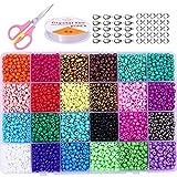 LEBENSWERT Glasperlen 24000 Stück 2mm Perlen zum Auffädeln Perlen Set Schmuck Selber Machen Set DIY Armbänder Basteln Halskette Geburtstagsgeschenk für Mädchen